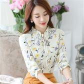 雪紡衫女長袖秋裝新款韓版超仙氣質小碎花洋氣小衫很仙的上衣 LOLITA