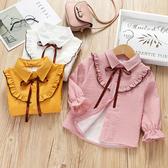 女童冬裝襯衣加絨保暖2091新款韓版條紋洋氣寶寶長袖上衣兒童襯衫