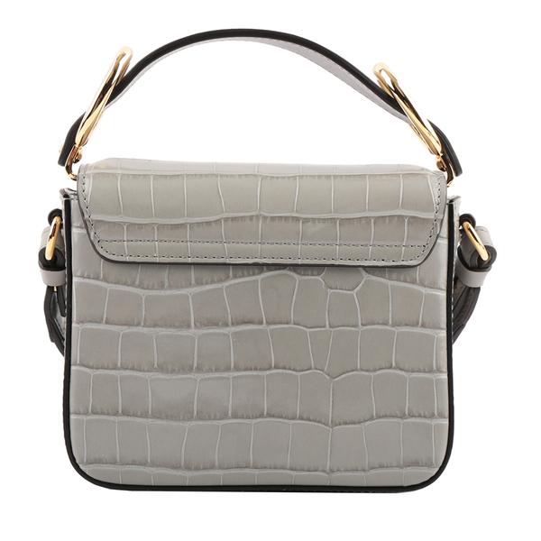 【CHLOE】Mini C Bag牛皮壓鱷魚紋手提/斜背兩用包(暴風灰) CHC19US193A87039
