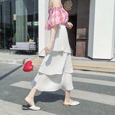 【免運】中長款正韓半身裙新品夏季新款女裝大碼顯瘦大擺小清新雪紡蛋糕裙子潮