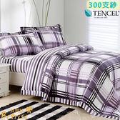 雙人床罩300 支紗100 天絲TENCEL 鋪棉八件式兩用被床罩組~Betrise ~格