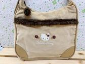 【震撼精品百貨】Hello Kitty 凱蒂貓~KITTY斜背包/肩背包-卡其色#04492