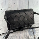 BRAND楓月 Bottega Veneta BV 黑色 迷你 寬編織 迷你 斜背小包 卡包 零錢包 小廢包