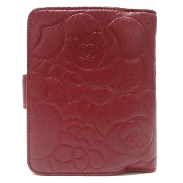 CHANEL 香奈兒 紅色山茶花壓紋羊皮釦式二折短夾 Camellia French Wallet【BRAND OFF】