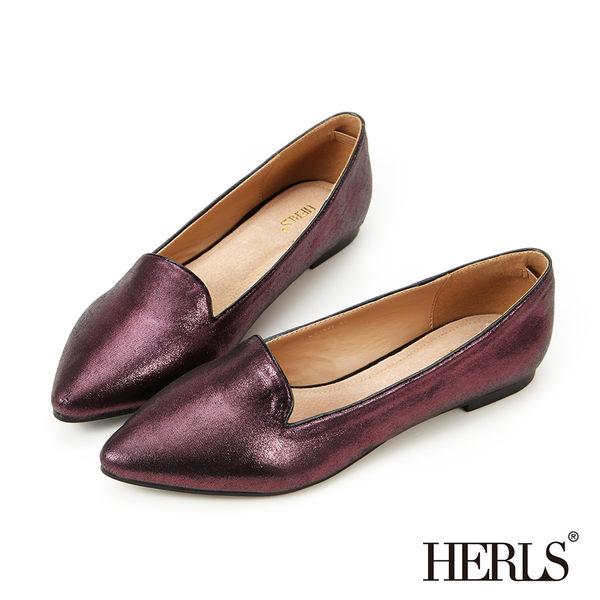 樂福鞋-HERLS 內真皮 簡約亮面尖頭樂福鞋-紫紅