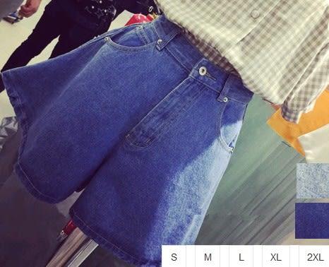 EASON SHOP(GU1059)深藍淺藍高腰牛仔寬褲短褲裙S-2XL復古寬鬆半身裙褲牛仔短褲裙潮