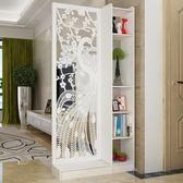 屏風隔斷客廳玄關櫃現代時尚移動門廳裝飾櫃鏤空雕花櫥窗背景 超值價