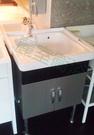 【麗室衛浴】陶瓷洗衣槽+浴櫃 D56 x W62 (白鐵製櫃體)+陶瓷把手冷水栓 P-301+P-302+F-097-7