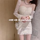一字肩長袖連身裙洋裝 長袖法式小個子蕾絲連衣裙顯瘦緊身性感氣質名媛裙子女【小酒窩】