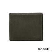 FOSSIL DERRICK LOGO壓印附零錢收納皮夾-灰色 ML4154257
