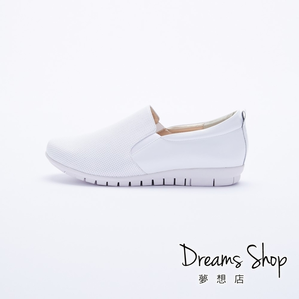 大尺碼女鞋-夢想店-MIT台灣製造時尚休閒風簡約真皮樂福鞋2.5cm(41-45)【PW2109】白色