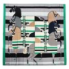 HERMES Rocabar馬匹圖羊毛混絲披肩圍巾140cm(灰綠色)370045