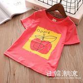 女童夏裝2019新款韓版棉短袖卡通蘋果印花短袖上衣T恤打底衫4178