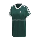 adidas 短袖T恤 3-Stripes Tee 綠 白 女款 短T 純棉 【PUMP306】 DV2590