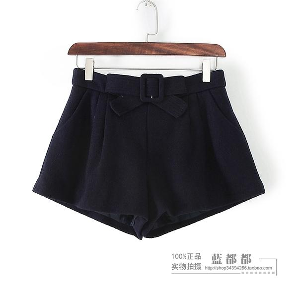 [超豐國際]紫冬裝女裝藏青色淑女百搭簡約時尚短褲 29144(1入)
