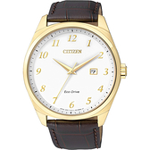 CITIZEN Eco-Drive 光動能經典簡約腕錶-金框x咖啡/42mm BM7322-06A