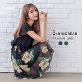 洋裝--韓版優雅氣質雪紡印花圓領花苞短袖假兩件連身裙(紅.綠M-3L)-D435眼圈熊中大尺碼◎