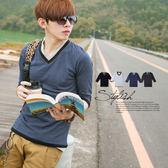 柒零年代 Sense【N8172J】韓式輕熟感低調內斂雙色V領滾邊素面七分袖上衣