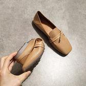 平底方頭單鞋女淺口平跟軟底豆豆鞋復古風奶奶鞋舒適開車鞋  魔法鞋櫃