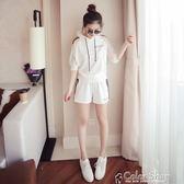 夏季新款韓版大碼連帽休閒運動套裝女時尚寬鬆短褲兩件套潮color shop