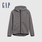 Gap男童 簡約插肩袖運動連帽外套 541099-灰色