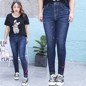 ★韓美姬★中大尺碼~鏤空刺繡水洗牛仔褲(XL~4XL)