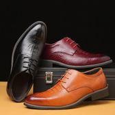 正裝皮鞋 商務男鞋子 秋冬創意潮流鱷魚紋大碼男鞋 單鞋商務男皮鞋《印象精品》q465
