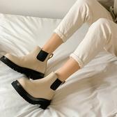 手工真皮女鞋34~40 2020新款頭層牛皮圓頭厚底中跟切爾西靴 短靴 踝靴 ~2色