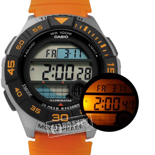 CASIO / WS-1100H-4A / 卡西歐 電子液晶 計時碼錶 月相潮汐顯示 防水100米 半透明橡膠手錶 黑灰x橘 43mm