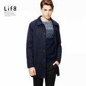 Formal 跳色條紋 簡約基本大衣-藍色【11129】