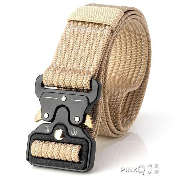 男士戶外登山戰術帆布腰帶 尼龍眼鏡蛇皮帶褲帶插扣彈簧扣女加厚  【PINKQ】
