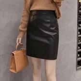 短裙 A字裙 秋冬小皮裙半身裙短款黑色高腰大碼顯瘦開叉時尚帥氣皮包臀裙子女