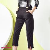 【SHOWCASE】氣質顯瘦可拆式吊帶開叉七分褲(黑)