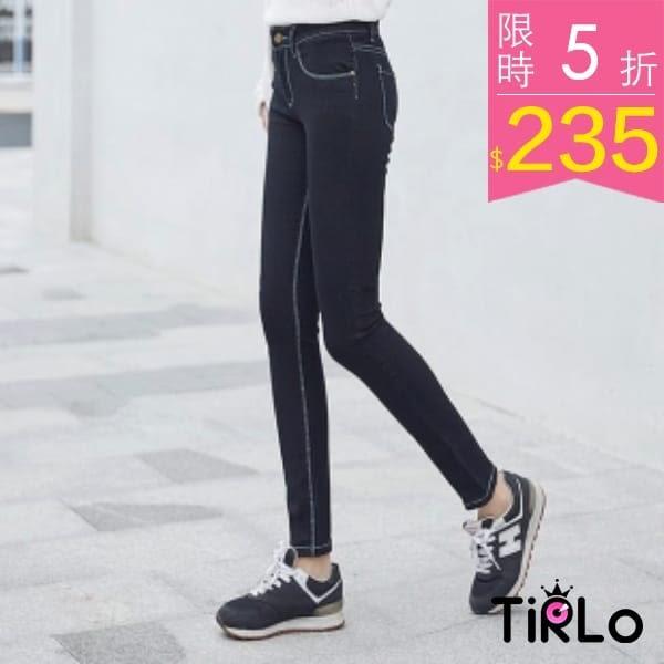 牛仔褲 -Tirlo-韓版小腳黑色牛仔鉛筆褲-一色/S-XL(現+追加預計5-7工作天出貨)