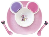 日本 迪士尼 Disney 米妮可愛造型兒童餐具/多功能餐盤組 (豪華組)