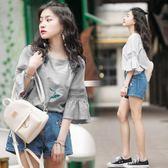 短袖T恤 春季韓國chic修身顯瘦荷葉邊喇叭長袖T恤打底上衣女學生     非凡小鋪