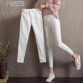 七分裤高腰牛仔褲女白色九分鉛筆褲顯瘦洋氣灰小腳褲子 奈斯女裝