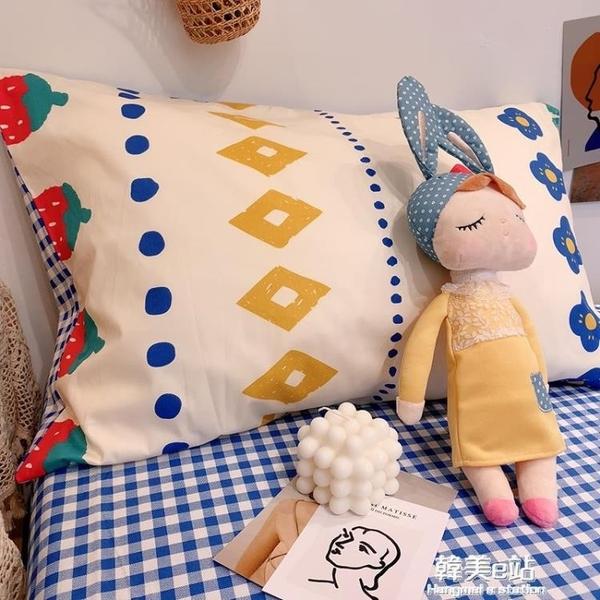 枕頭套 ins卡通北歐全棉純棉枕套一對裝雙單人家用枕頭套枕芯內膽外套 韓美e站