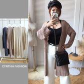 針織外套.Cynthia 星希亞.鏤空洞洞編織長版罩衫(深藍/粉/杏)580【S3J5130】