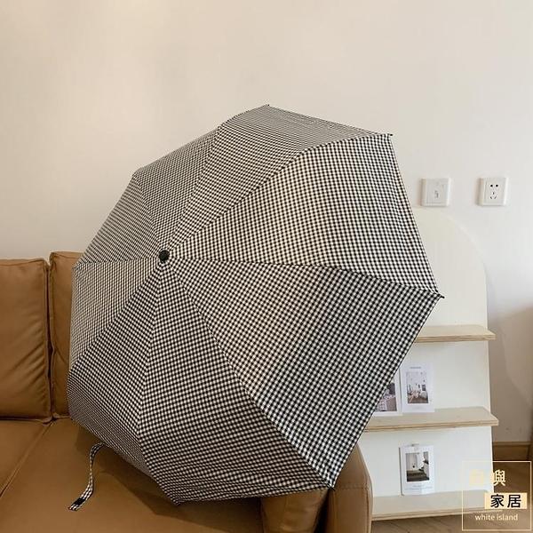 木柄格紋雨傘學生便攜遮陽黑膠傘晴雨兩用傘女雨傘【白嶼家居】