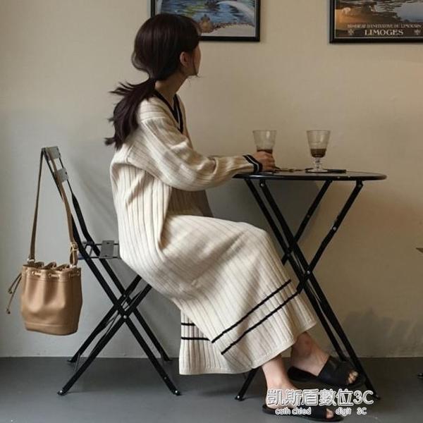 秋季韓版撞色V領長袖針織毛衣裙女寬鬆復古過膝懶人裙打底洋裝 凱斯盾