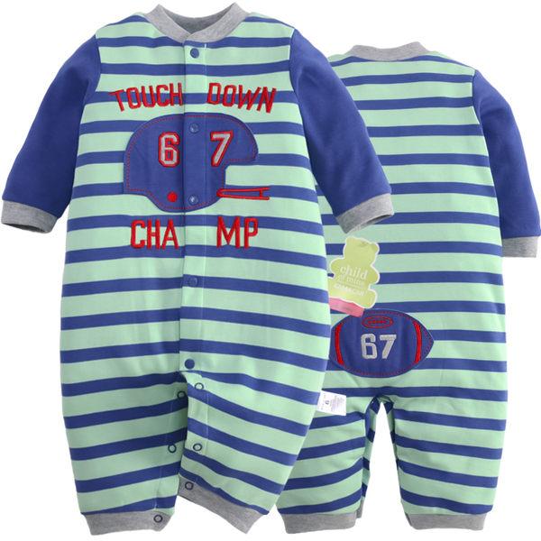 EMMA商城~長袖連身兔裝 條紋配色橄欖球運動造型寶寶連身衣.包屁衣