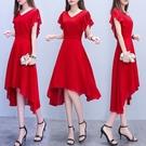 洋裝M-5XL紅色雪紡連身裙長裙夏女裝新款氣質顯瘦流行收腰法式桔梗裙子NB13 韓依紡