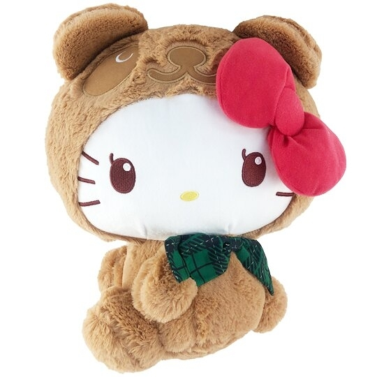 小禮堂 Hello Kitty 絨毛玩偶 絨毛娃娃 中型玩偶 布偶 (M 淺棕熊裝) 5983164-11410