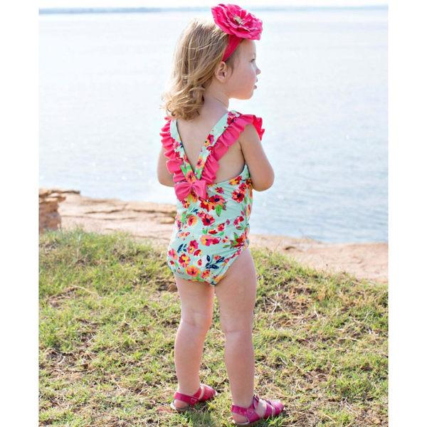 美國RuffleButts 女寶寶 連身式泳裝 綠花朵【RUSWSWHGRE】