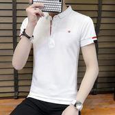 工廠直發不退換夏季男士短袖T恤青年純棉修身休閑Polo衫翻領棉線半截袖條紋上9225X1015依品國際