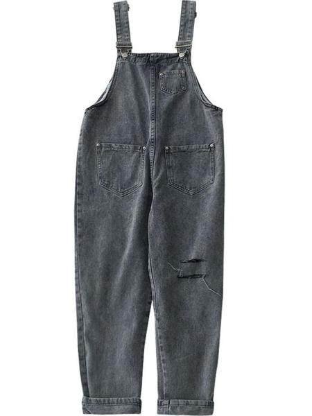 女學生 連體褲女裝韓版流行背帶長褲破洞牛仔褲子  潮流衣舍