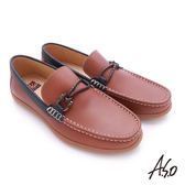 A.S.O 3D超動能 苯染牛皮直套式低筒帆船鞋-茶