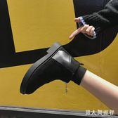 中大尺碼平底短靴 短靴2019春季新款韓版百搭馬丁靴女短筒英倫風 DR10547【男人與流行】