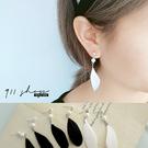 Petal.簡單氣質黑白羽毛珍珠穿針式耳環三對一組【hc169】*911 SHOP*